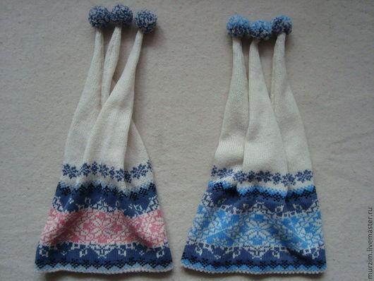 Шапочка слева: размер 56-57, справа: размер 57-58, 1100 руб. По желании заказчика могу сделать комплект, т.е добавить шарф, носки или гетры.