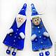 Ёлочные игрушки `Дед Мороз и Снегурочка`. Стекло. Фьюзинг