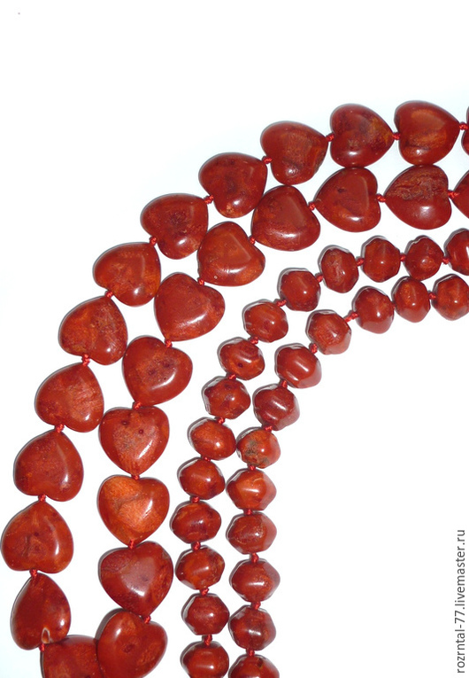 Коралл губчатый, цвет терракотовый : Сердце 18,х18,5х7 мм  Рондель12,5х10 мм