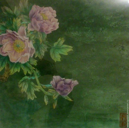 Картины цветов ручной работы. Ярмарка Мастеров - ручная работа. Купить картина на рисовой бумаге Ночной пион. Handmade. се-и