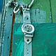 Часы наручные женские Mint&shugar. Браслет из натуральной кожи мятного цвета.