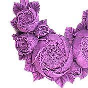 Украшения handmade. Livemaster - original item Rose dance Purple Necklace handmade from genuine leather. Handmade.