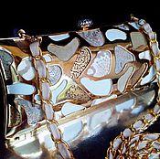 """Сумки и аксессуары ручной работы. Ярмарка Мастеров - ручная работа Клатч вечерний кожаный """"White giraffe + gold"""". Handmade."""