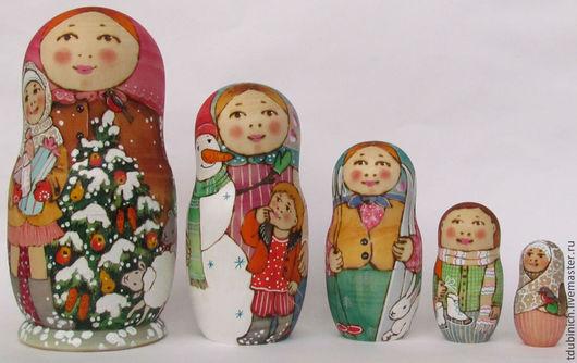 """Матрешки ручной работы. Ярмарка Мастеров - ручная работа. Купить Матрешка 5-местная """"Новый год в деревне, подарок на Новый Год, сувенир. Handmade."""
