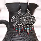 Украшения handmade. Livemaster - original item Earrings Oriental tale, silver plated turquoise coral large ethnic style. Handmade.