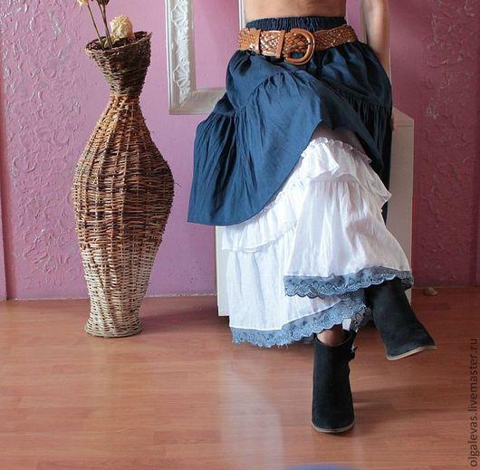 Юбки ручной работы. Ярмарка Мастеров - ручная работа. Купить Юбка бохо джинсовая  Осень в городе. Handmade. Тёмно-синий