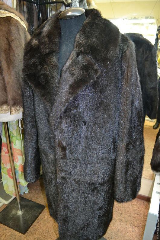 Верхняя одежда ручной работы. Ярмарка Мастеров - ручная работа. Купить Мужская шуба, меховое пальто из норки.. Handmade. Черный