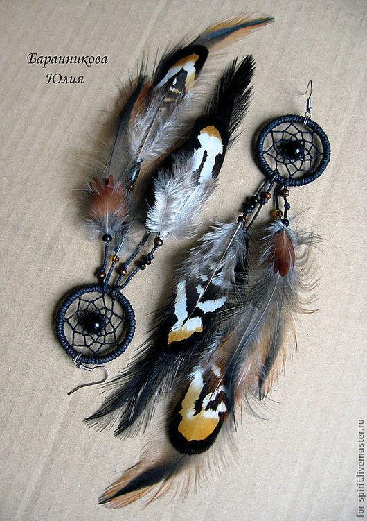 """Серьги ручной работы. Ярмарка Мастеров - ручная работа. Купить Серьги """"Индейские стрелы"""". Handmade. Черный, индейцы, перья"""