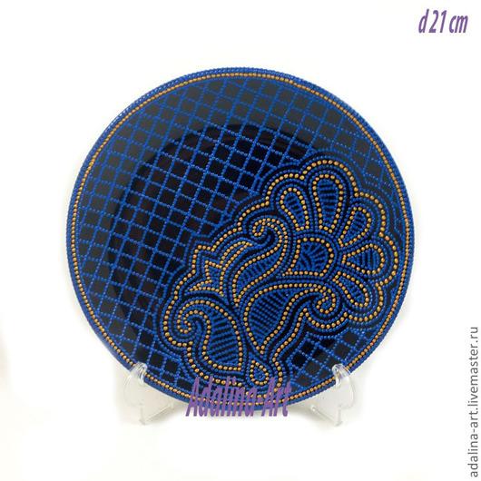 Декоративная посуда ручной работы. Ярмарка Мастеров - ручная работа. Купить BLUE декоративная тарелка Точечная роспись. Handmade.