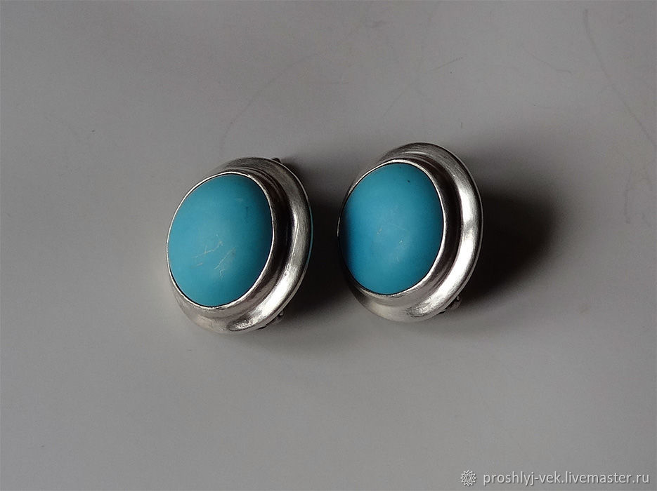 Silver and turquoise, Vintage earrings, Moscow,  Фото №1