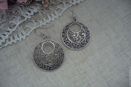 Для украшений ручной работы. Ярмарка Мастеров - ручная работа. Купить Основа под серьги круглая  - цвет серебро  - цена за пару. Handmade.
