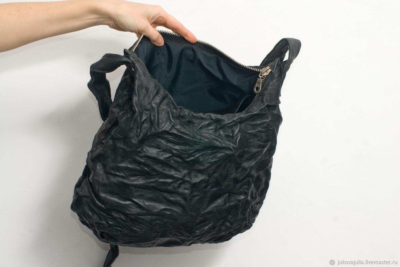 Дизайнерская черная хобо сумка, натуральная кожа,