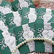 """Приглашения ручной работы. Ярмарка Мастеров - ручная работа Приглашение на свадьбу """"Изумруд""""свадебные приглашения,зелёная свадьба. Handmade."""