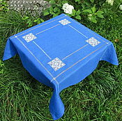 Для дома и интерьера handmade. Livemaster - original item Tablecloth 90/90 blue 4 Kuban. Handmade.