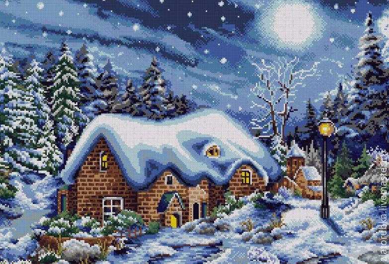 Зимняя ночь схемы вышивки