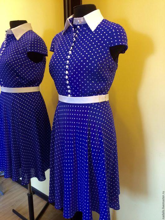 """Платья ручной работы. Ярмарка Мастеров - ручная работа. Купить Платье """"шёлковый горошек"""". Handmade. Тёмно-фиолетовый, шелковое платье"""
