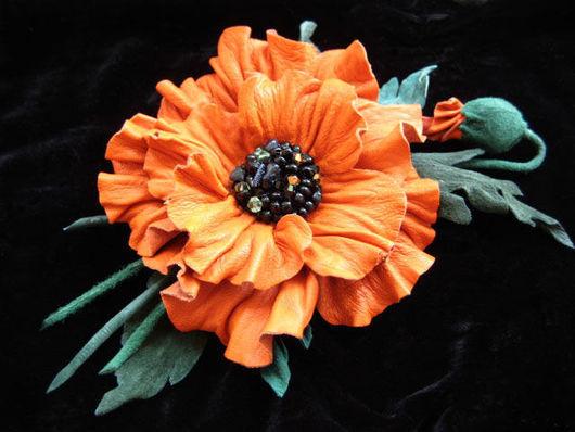 цветы из кожи, кожаные цветы, кожаные изделия,изделия из кожи, рыжий мак из кожи  оранжевый цветок из кожи, ободок с цветами из кожи, обруч для волос с цветком, кожаный ободок , аксессуары для волос и