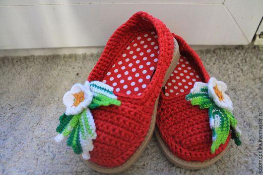 Обувь ручной работы. Ярмарка Мастеров - ручная работа. Купить Балетки. Handmade. Разноцветный, Крош, балетки, пряжа хлопок