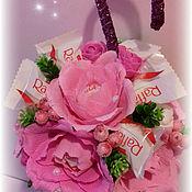 """Букеты ручной работы. Ярмарка Мастеров - ручная работа Зонтик из конфет """" Бабочки"""". Handmade."""