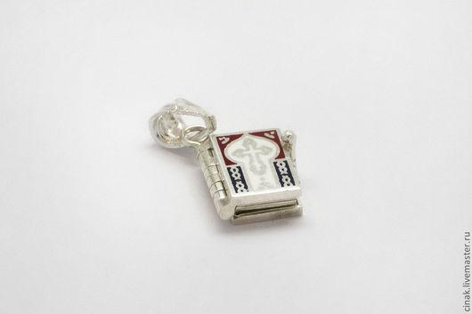 Кулоны, подвески ручной работы. Ярмарка Мастеров - ручная работа. Купить Серебряный кулон с эмалью - молитвенник. Handmade. Белый, книжка