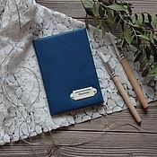 Канцелярские товары ручной работы. Ярмарка Мастеров - ручная работа Обложка для паспорта синяя. Handmade.