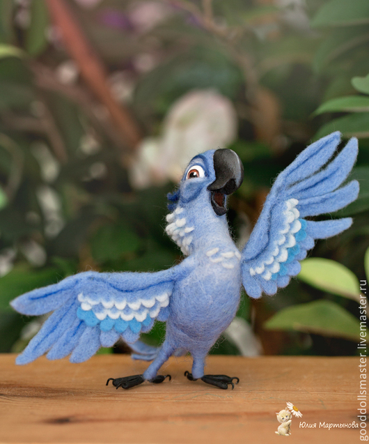 """Игрушки животные, ручной работы. Ярмарка Мастеров - ручная работа. Купить Попугайчик из """"РИО"""",Голубчик)). Handmade. Голубой, валяная игрушка"""