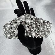 Русский стиль handmade. Livemaster - original item The rim is a CRYSTAL kokoshnik embroidered with silver beads and beads. Handmade.
