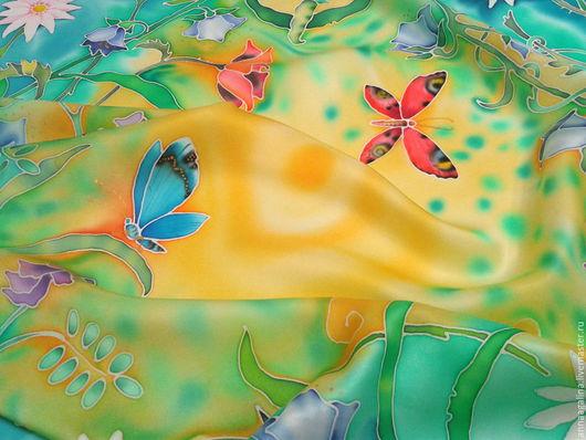 """Шарфы и шарфики ручной работы. Ярмарка Мастеров - ручная работа. Купить Шелковый платок """"УТРО.""""  Батик.. Handmade. Комбинированный"""