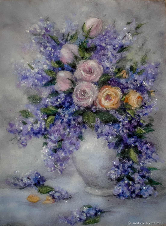 Картина из шерсти Сирень и розы, Картины, Энгельс,  Фото №1