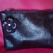 Сумки и аксессуары handmade. Livemaster - original item Cosmetic bag leather beet color