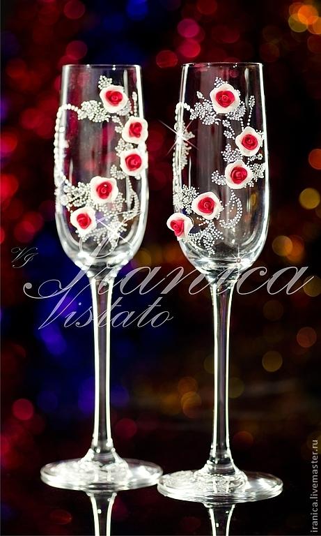 """Свадебные аксессуары ручной работы. Ярмарка Мастеров - ручная работа. Купить Свадебные бокалы """"Rosa"""". Handmade. Свадебные бокалы, swarovski"""