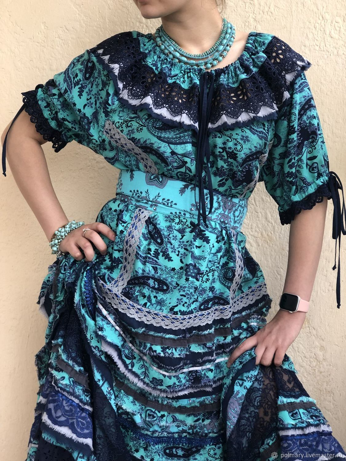 1e03d59234f Boho dress blue-turquoise – shop online on Livemaster with shipping ...