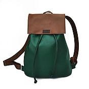 """Рюкзаки ручной работы. Ярмарка Мастеров - ручная работа Рюкзак на завязках из экокожи """"Basic"""" зеленый, коричневый. Handmade."""