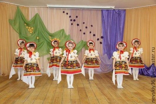 Детские танцевальные костюмы ручной работы. Ярмарка Мастеров - ручная работа. Купить платье Хохлома  №3. Handmade. Разноцветный