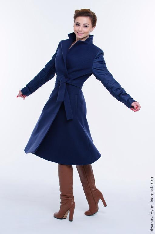 Верхняя одежда ручной работы. Ярмарка Мастеров - ручная работа. Купить Пальто осеннее La La. Handmade. Тёмно-синий