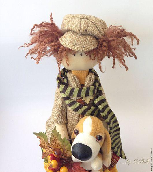 Коллекционные куклы ручной работы. Ярмарка Мастеров - ручная работа. Купить Жаклин и Жулиан Текстильная кукла с собачкой. Handmade. Коричневый