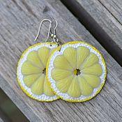 Серьги классические ручной работы. Ярмарка Мастеров - ручная работа Серьги Лимон и апельсин (на свет прозрачные). Handmade.