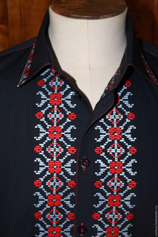 """Для мужчин, ручной работы. Ярмарка Мастеров - ручная работа. Купить Мужская рубашка в стиле """"Этно"""". Handmade. Тёмно-синий"""