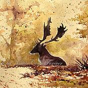 Картины и панно ручной работы. Ярмарка Мастеров - ручная работа Акварель Осеннее утро в лесу. Handmade.
