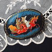 Винтаж handmade. Livemaster - original item Brooch Russian Troika hand painted. Handmade.