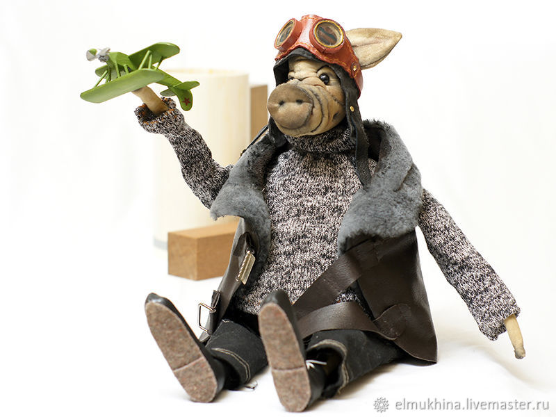 a gift to the pilot. to buy a gift. gift to the man. pilot. traveler. the original gift. cool gift. my husband's gift. funny pig. to give the doll. handmade. to buy in Moscow. under