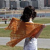 Аксессуары ручной работы. Ярмарка Мастеров - ручная работа Вязаная ажурная теплая шаль Пряная из шерсти ягненка. Handmade.