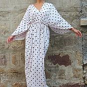 Одежда ручной работы. Ярмарка Мастеров - ручная работа Бледно-розовое в горошек летнее длинное макси платье, кафтан, абайя. Handmade.