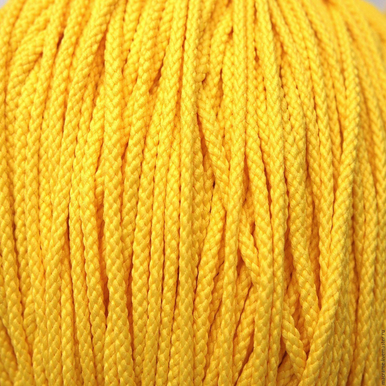 Шнур плетеный полиэфирный 3,5  мм желтый, Шнуры, Нижний Новгород,  Фото №1
