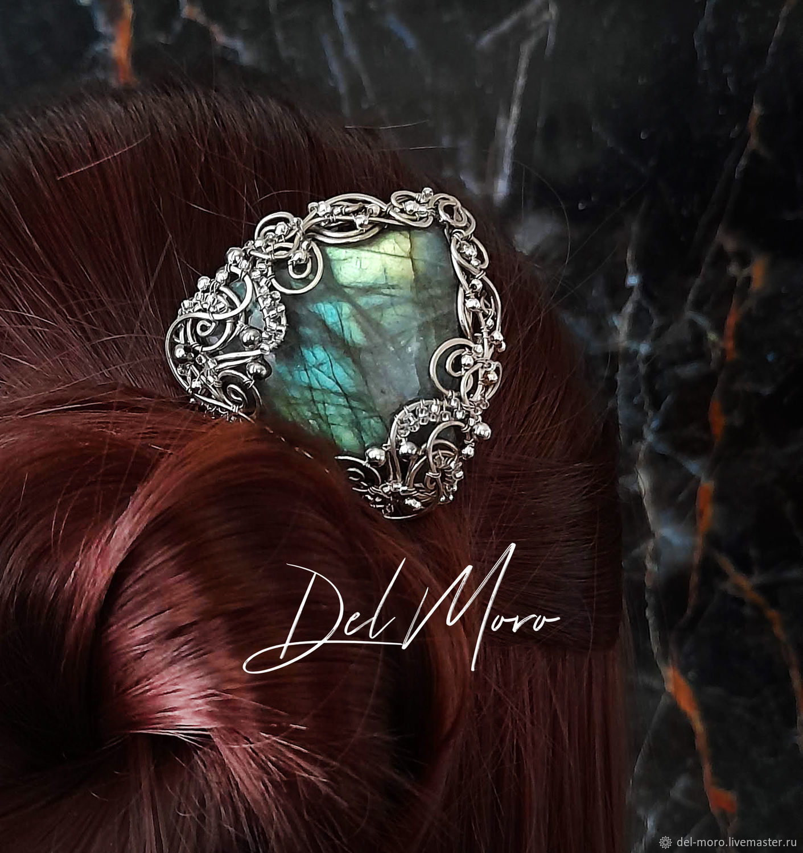 Hairpin with labradorite metal nickel silver ' Empire', Hairpin, St. Petersburg,  Фото №1