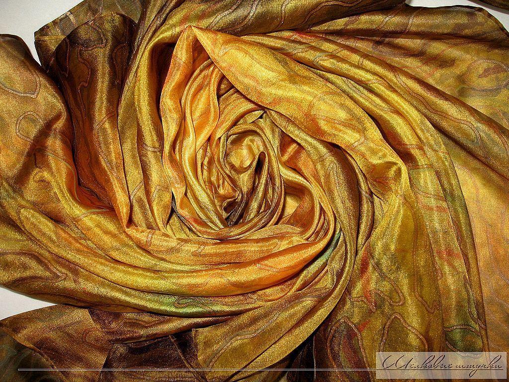 """Шали, палантины ручной работы. Ярмарка Мастеров - ручная работа. Купить Шелковый платок """"Теплая яшма"""" ручная роспись на заказ золотистый. Handmade."""