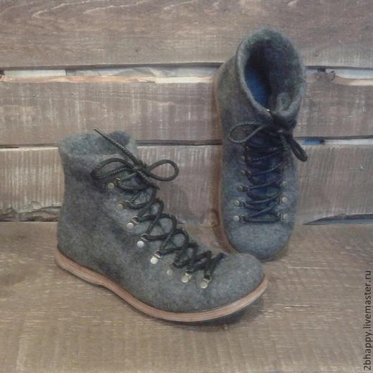 Обувь ручной работы. Ярмарка Мастеров - ручная работа. Купить Ботинки валяные Anapurna. Handmade. Темно-серый, Валяные ботинки