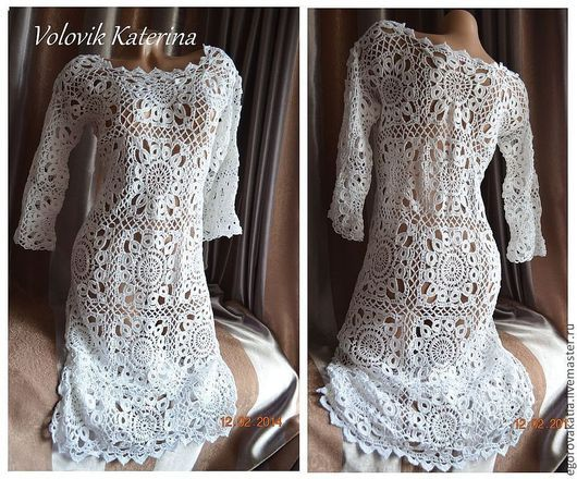 Платья ручной работы. Ярмарка Мастеров - ручная работа. Купить Платье связано по идеи Jaeger London - белое. Handmade. Белый