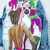 Куртки ручной работы. Ярмарка Мастеров - ручная работа Джинсовка с рисунком. Handmade.