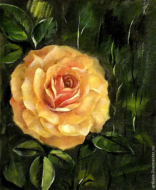 """Картины цветов ручной работы. Ярмарка Мастеров - ручная работа. Купить Картина маслом """"Желтая роза"""". Handmade. Желтый, роза"""